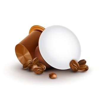 Koffie in capsules met koffiebonen