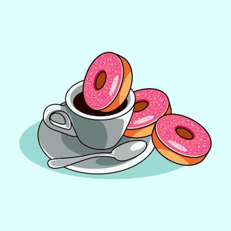 Koffie in de beker met lepel en donuts moderne stijl