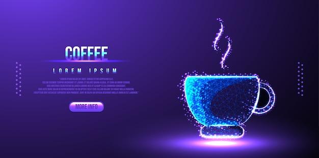 Koffie java laag poly draadframe