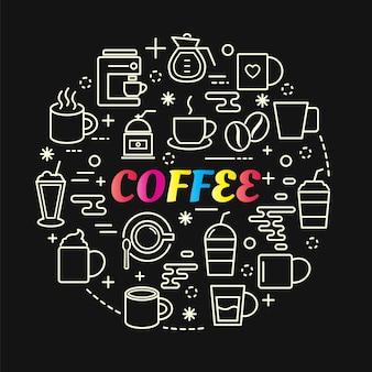 Koffie kleurrijke verloop met lijn pictogrammen instellen Premium Vector