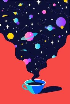 Koffie. kopje koffie met universumdromen, planeet, sterren, kosmos.
