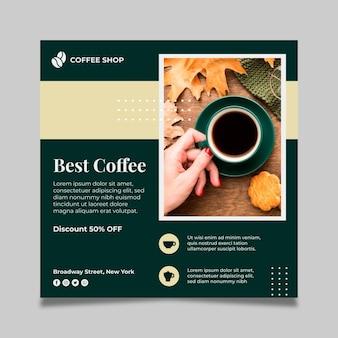 Koffie kwadraat flyer-sjabloon