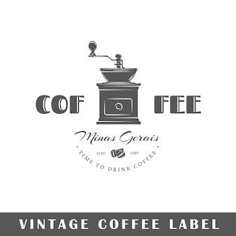 Koffie label geïsoleerd op een witte achtergrond. ontwerpelement. sjabloon voor logo, bewegwijzering, huisstijlontwerp.