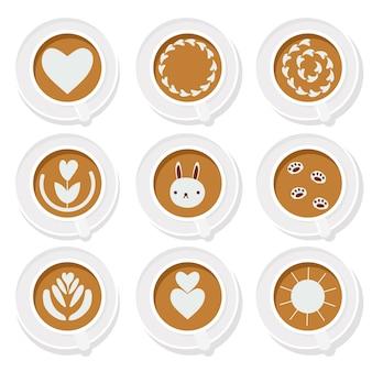 Koffie latte kunst basisinzameling vlakke stijl