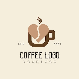 Koffie liefde logo sjabloon