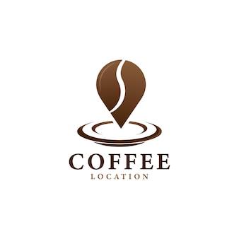 Koffie locatie logo ontwerp vector illustratie