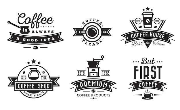Koffie logo badge en label voor café