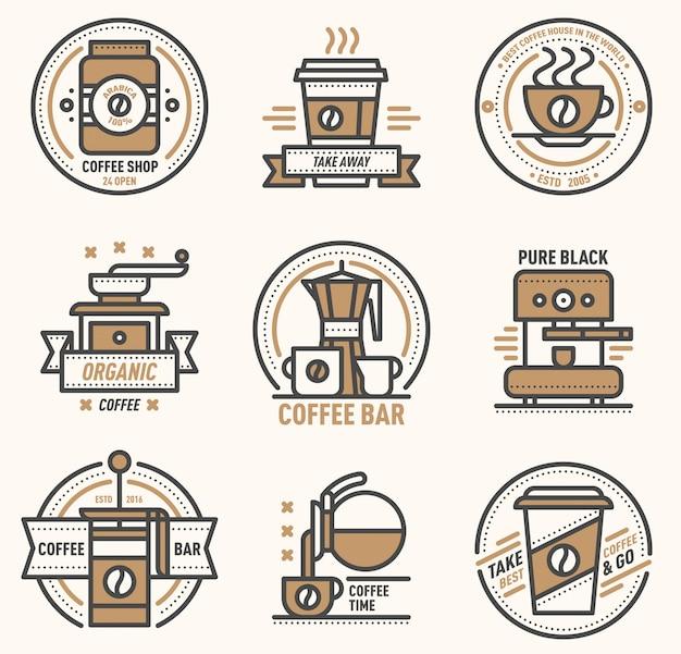 Koffie logo badge monogram ontwerp café teken coffeeshop monogram en restaurant symbool retro eten drinken koffie monogram zakelijke menu badge winkel sticker pictogram