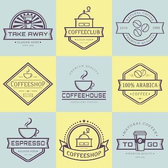 Koffie logo collectie. sjablonen in kaderstijl. set retro etiketten voor coffeeshop of café. geïsoleerde logo's op geel en blauw. illustratie.