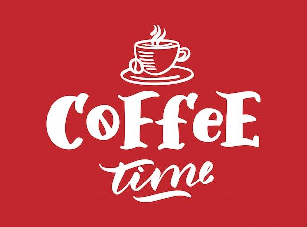 Koffie logo. hand getrokken belettering samenstelling en clipart element.