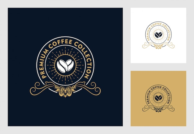 Koffie logo ontwerp in vintage stijl