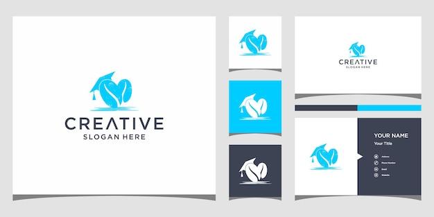 Koffie logo-ontwerp met sjabloon voor visitekaartjes