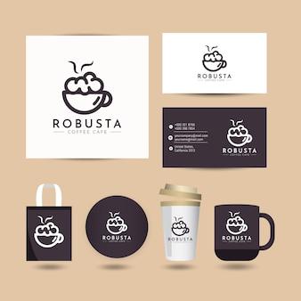 Koffie logo ontwerpconcept met presentatiesjabloon