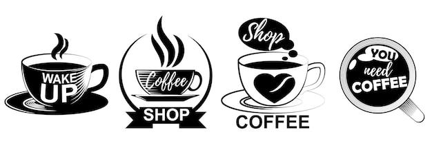 Koffie logo's in verschillende vormen geïsoleerd