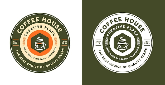 Koffie logo sjabloonontwerp in verschillende kleuren