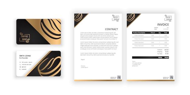 Koffie logo visitekaartje en blanco moderne minimalistische sjabloon document ontwerpsjabloon f