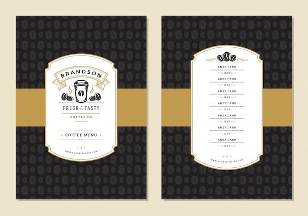 Koffie menu ontwerp sjabloon folder voor bar of café met offee winkel logo beker symbool.