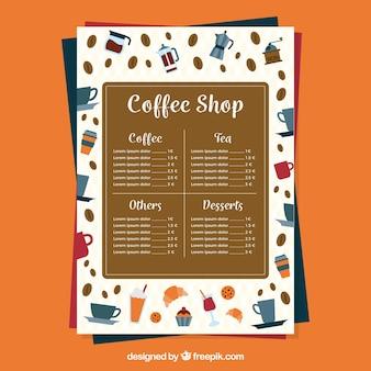 Koffie menu op oranje achtergrond