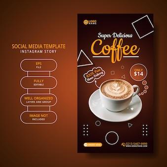 Koffie menu promotie social media post instagram verhaal sjabloon Premium Vector