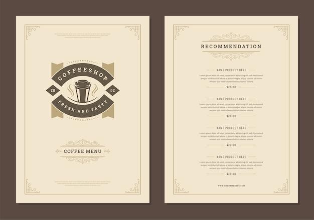 Koffie menusjabloon ontwerp flyer voor bar of café