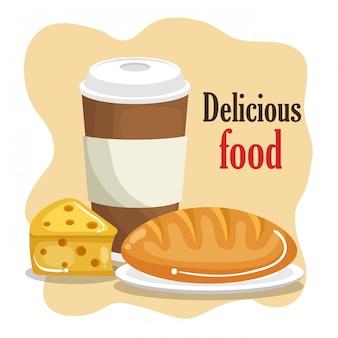 Koffie met brood en kaas