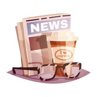 Koffie met een krant en glazen
