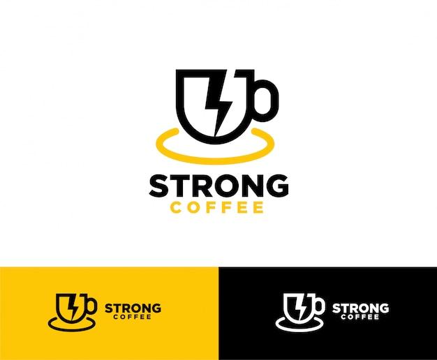 Koffie met flash-symbool logo-ontwerp