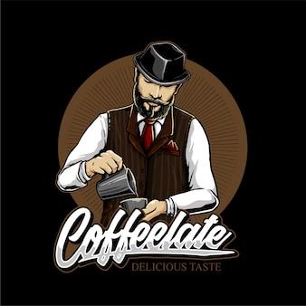 Koffie mixers in coffeeshop logo ontwerp