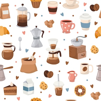 Koffie naadloos patroon, verschillende koffieelementen.
