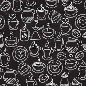 Koffie naadloze patroon achtergrond vector met witte pictogrammen op zwart van een koffiepot en percolator dampende mokken en kopjes bonen harten espresso filter cappuccino en ijskoffie in vierkant formaat