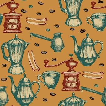 Koffie naadloze patroon