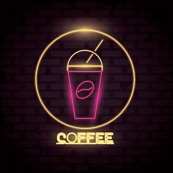 Koffie neonlichten pictogram