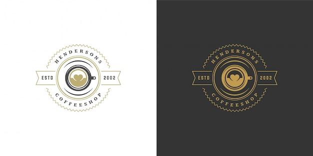 Koffie of thee winkel logo sjabloon met bonen silhouet goed voor café badge ontwerp en menu-decoratie