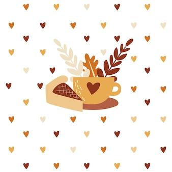 Koffie- of theekop met taart op herfstbladeren en harten achtergrond herfstdrankje