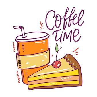 Koffie om mee te nemen en cake met kersen. hand getekend koffie tijd belettering. cartoon stijl. geïsoleerd op witte achtergrond.