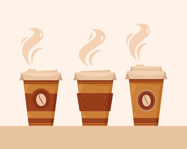 Koffie om mee te nemen. papieren kopjes koffie. koffietijd. in vlakke stijl.
