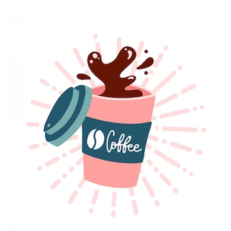 Koffie om te gaan kopje. bespattende koffie in document kop die op witte achtergrond wordt geïsoleerd. warm verkwikkende drank.