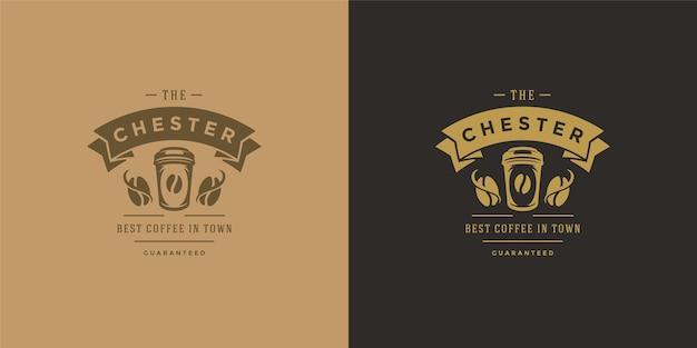 Koffie om te gaan winkelen logo sjabloon illustratie set