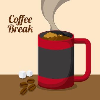 Koffie ontwerp over roze achtergrond vectorillustratie