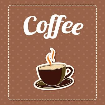 Koffie op bruine patroonachtergrond