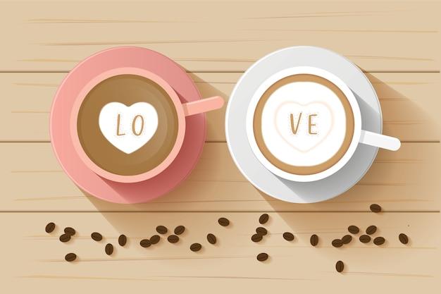 Koffie paar kop bovenaanzicht
