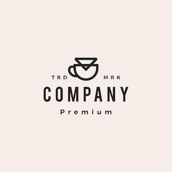 Koffie papier filter druppelaar hipster vintage logo vector pictogram illustratie
