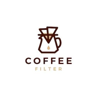 Koffie papier filter druppelaar logo vector pictogram illustratie