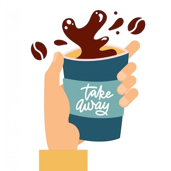 Koffie papieren beker met druppels en splash in mannenhand, koffie splash uit papieren beker geïsoleerd op een witte achtergrond, vlakke afbeelding met hand getrokken belettering - take away