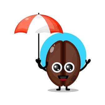 Koffie paraplu schattig karakter mascotte