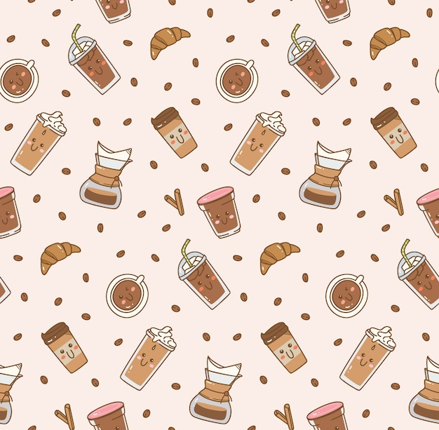 Koffie pictogram ingesteld patroon in kawaii doodle stijl
