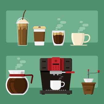 Koffie pictogrammen en een koffiezetapparaat