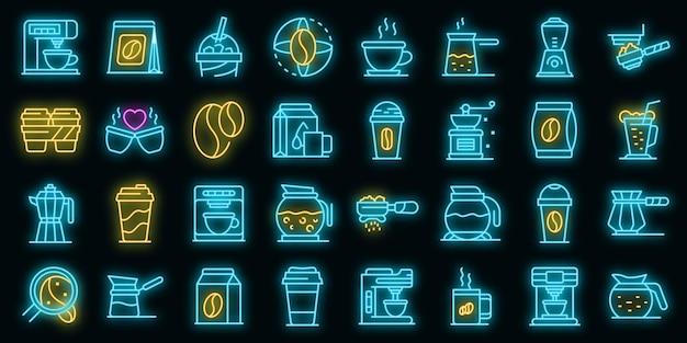 Koffie pictogrammen instellen vector neon