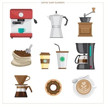 Koffie plat pictogrammen instellen platte moderne pictogrammen voor coffeeshop