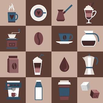 Koffie platte pictogrammen instellen met kopje mok hot dring pot turk zakje pot geïsoleerde vector illustratie